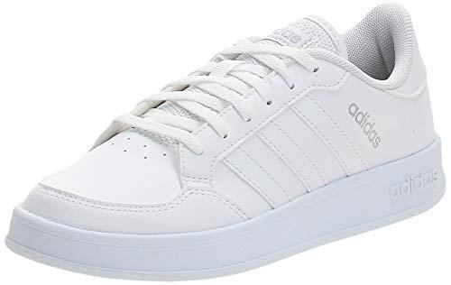adidas BREAKNET, Scarpe da Tennis Donna, Ftwr White/Ftwr White/Silver Met, 40 2/3 EU