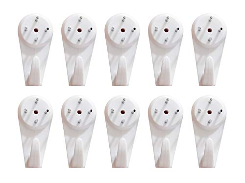 SOPUMPKIN 20PCS Hanger Uses for Hardware Fasteners Hooks Wall Mount Non-Mark Hooks Concrete Hard Wall Picture Painting Photo Frame Hangers Plastic Wall Hook Seamless Nail Picture Hangers 41MM (25 lbs)