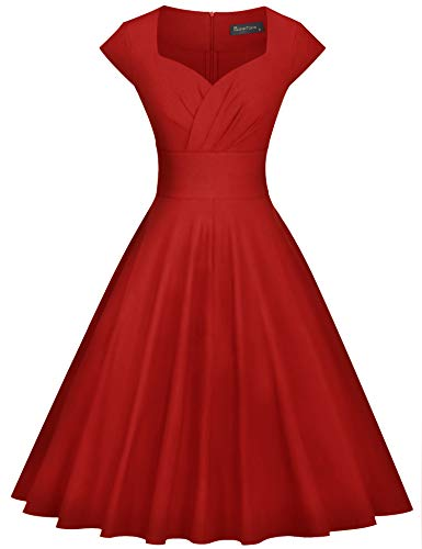 GownTown Womens Dresses Party Dresses 1950s Vintage Dresses Swing Stretchy Dresses, Red, XX-Large