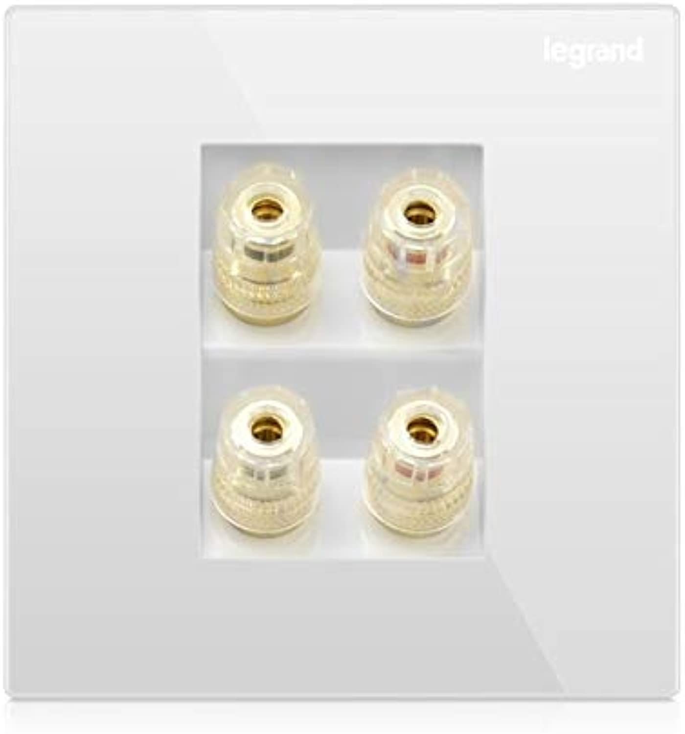High Quality Audio Wall Socket Four Interfaces Large Panel 86type Wall Switch Socket Simple Classic White and gold  (color  White)