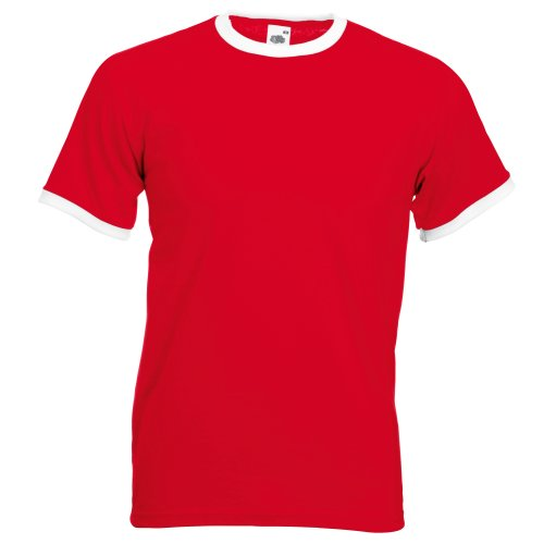 Fruit of the Loom Mens Ringer Short Sleeve T-Shirt (M) (Red/White)