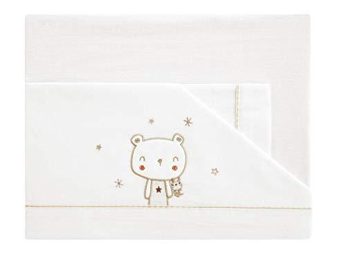 Next2me Parure de lit bébé bébé bébé 50 x 80 cm en coton 100 % brodé blanc taupe ourson