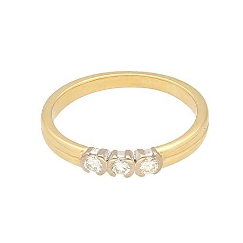 Anillo de mujer de oro amarillo de 18 quilates con diamante de 0,15 quilates (talla O) 3 x 10 mm | Anillo de lujo para mujer