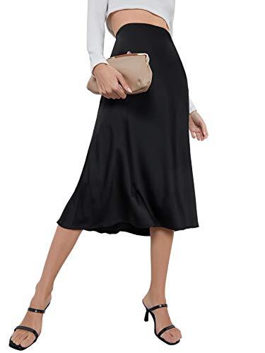 Floerns Women's Solid Basic High Waist A Line Swing Midi Skirt Black XS