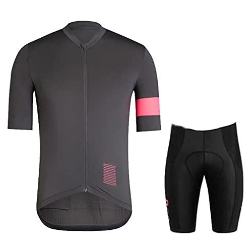 ZAYZ Conjunto de Jersey de Ciclismo para Hombre Camisa de Bicicleta con Cremallera Completa, 3D Acolchado Montar En Bicicleta Medias Pantalones Cortos (Color : Gray, Size : XS)