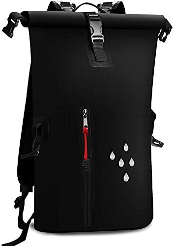 防水リュックバッグリュックサック大容量25Lスマホ用防水ケース付きバイク登山釣りアウトドアサイクリング海旅行バッグザックブラック