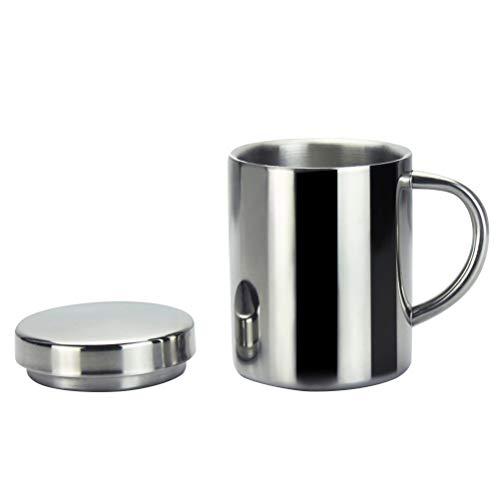 BESTONZON Edelstahl isolierte Trinkbecher mit Deckelgriff Teetasse Kaffeetasse Doppelschichtige Wärmer, edelstahl, silber, 300ml