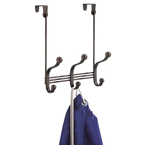 InterDesign York Lyra Over Door Storage Rack - Organizer Hooks for Coats,...
