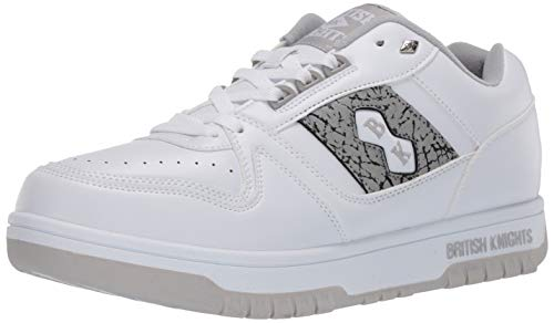 British Knights Herren Kings SL Low Classic Basketball Sneaker Turnschuh, Weiß/Grau/Ep, 39 EU