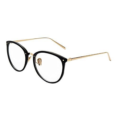 AiSi Damen vintage Retro Brille Eyewear One Size, Ohne Stärke, schwarz und Gold -002