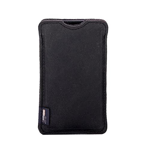 kontor28-Smartphone Hülle, Tasche passend für Apple iPhone 13 Pro Max, BREIT: passend für Smartphone+Backcase, naturbelassenes Büffel Leder+Natur Wollfilz. Handgefertigt Made in Bayern, grau schwarz
