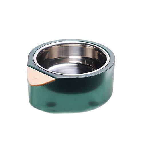 GBY Doppellagige Katzenfutterschale, Futterschale mit Einstellbarer Temperatur aus Edelstahl 304, Futterautomat, geeignet für kleine und mittlere Hunde und Katzen, grün, 18,6X16,3X8,2 cm-S