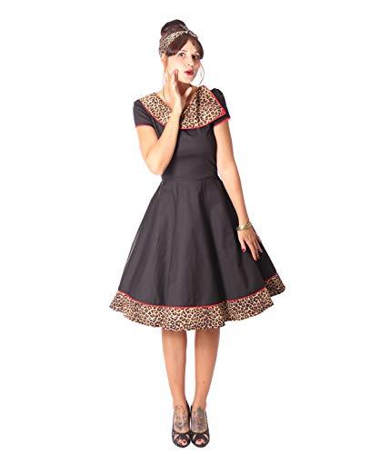 SugarShock Damen Petticoat Kleid Nieva Leo, Größe:S, Farbe:schwarz braun