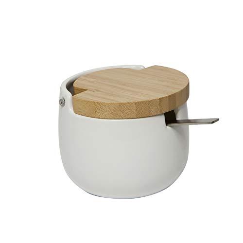 KOOK TIME Azucarero de cerámica con tapa de madera de bamb�