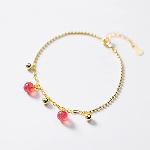 N/A Pulsera de Plata S925 para Mujer, Pulsera de Cristal de Fresa Rosa Dulce a la Moda, joyería de Mano con Personalidad para mujerAniversario