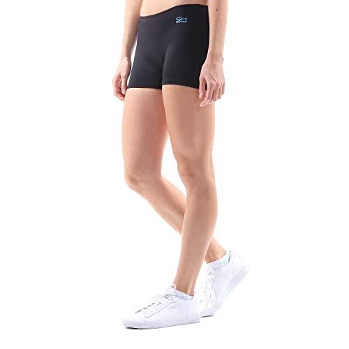 Sportkind Mädchen & Damen Kurze Sport Shorts, Turnhose, Gymnastikhose, Laufshorts, atmungsaktiv, schwarz, Gr. 164