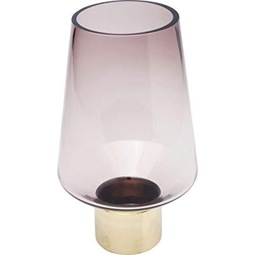 Kare Design Vase Noble Ring Lila 26cm, Lila Vase mit Sockel in der Farbe Gold, Ovale Optik, verschiedene Ausführungen erhältlich (H/B/T) 26x16x16cm