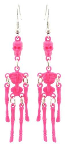 TANAMI Winkel Oorbellen Supplies voor Zest Halloween Skeleton Drop Oorbellen voor Doorboord Oren Heldere Roze Oorbellen Gift voor Vrouwen Meisjes.