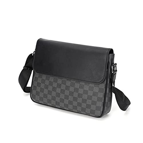 Men's Shoulder Bag,PU Leather Plaid Crossbody, Men's Crossbody Bags, Business Handbags For Men