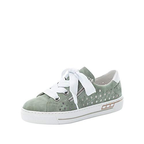 Rieker Damen Low-Top Sneaker L8845, Frauen Halbschuhe,straßenschuhe,Freizeitschuhe,Plateausohle,weiblich,Lady,Ladies,Women's,grün (52),38 EU / 5 EU