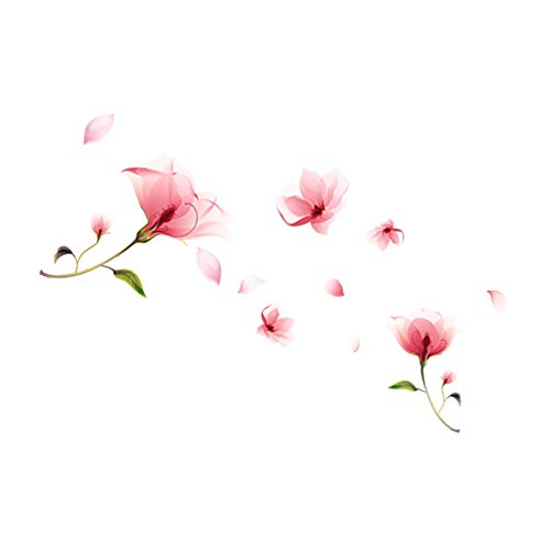 Adhesivo decorativo para pared con diseño de orquídeas y flores navideñas, para dormitorio, sala de estar, diseño de orquídea rosa