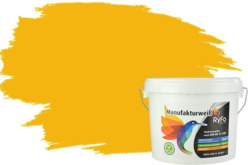 RyFo Colors Bunte Wandfarbe Manufakturweiß Sonnengelb 6l - weitere Gelb Farbtöne und Größen erhältlich, Deckkraft Klasse 1, Nassabrieb Klasse 1