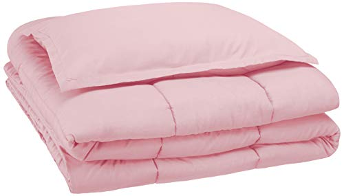 AmazonBasics Kid's Comforter Set - Soft, Easy-Wash Microfiber - Twin, Light Pink
