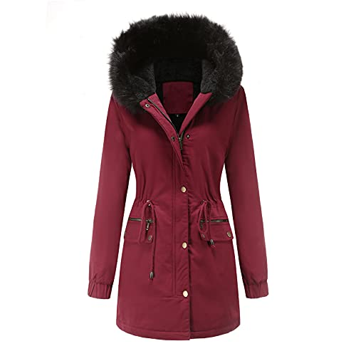 OutTop Womens Quilted Winter Coats Warm Fleece Lined Faux Fur Hooded Zip Up Down Jackets Parka Outwear with Pocket (Wine, S)