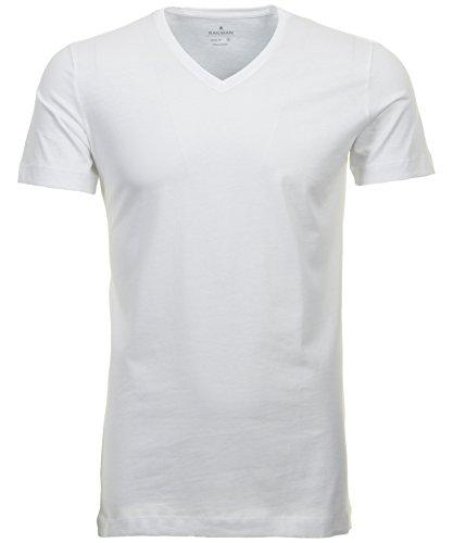 Ragman Herren 2 T-Shirt Doppelpack Bodyfit mit V-Ausschnitt, Weiß, L