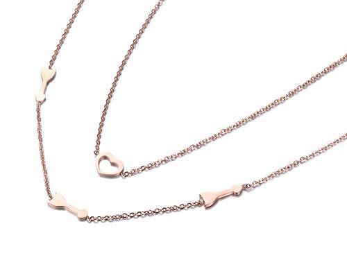 TTbaoz Collar de Acero Inoxidable de Doble Capa Joyas de Moda Flecha de Color Oro Rosa y Regalo de corazón de Cupido