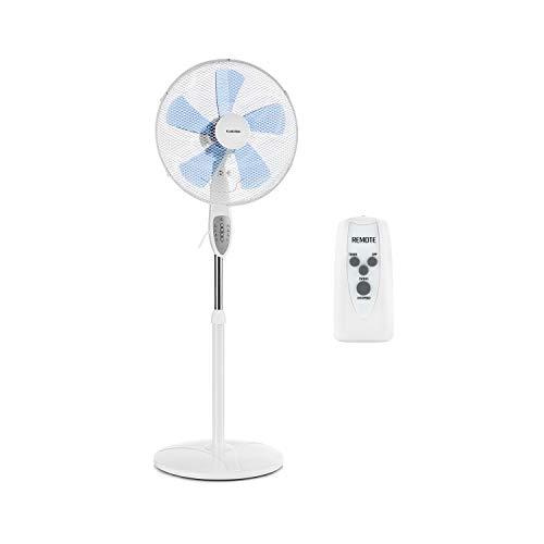 Klarstein Summerjam - Ventilatore a Piantana, Timer, 5 Pale, 41 cm, 50 Watt, Emissione aria 69,18 m/min, 3 Velocit, Telecomando, Bianco