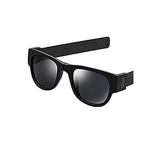 TTLOVE Kreative Armband Brille Polarisierte Sonnenbrille Fahren Snap Frosch Spiegel Handgelenk Faltende MäNner Und Frauen Mode Big Box Sonnenbrillen Retro Schatten Linse Engen Flieger (Schwarz)
