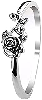 Rings for women Vintage Rose Flower Silver Ring, Dainty 925 Silver Plated Party Ring jewerlry Gift