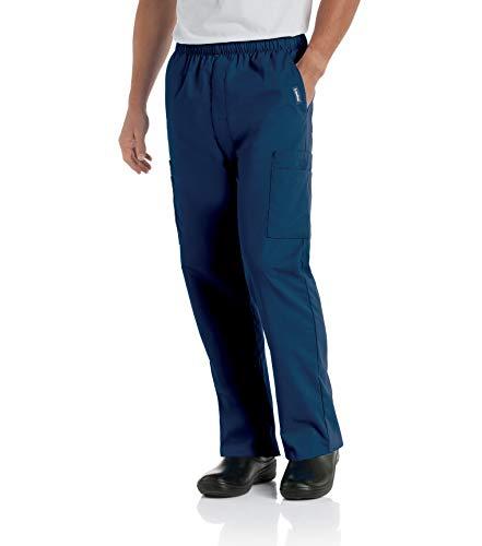 Landau Men's Comfort 7-Pocket Elastic Waist Drawstring Cargo Scrub Pant, Navy, Large
