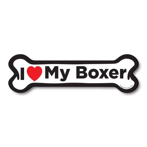 Magnet Me Up I Love My Boxer Dog Bone Car Magnet - 2x7 Dog Bone Auto Truck Decal Magnet