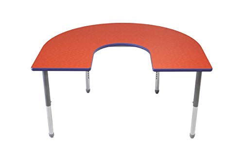 """AmTab - AHS486D - Multi-Functional Collaborative Activity Table - Genesis Collection - Horseshoe - 48"""" W x 72"""" L, Multiple Color Options Available"""