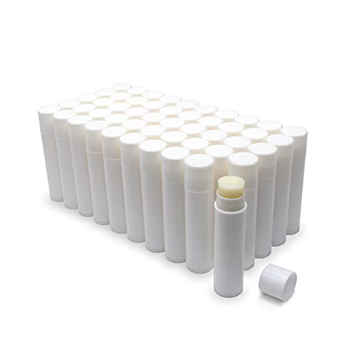 Natural Honey Lip Balm Bulk, Unlabeled Filled, 50 Pack | Add Your Own Labels For Party Favors, Gift Baskets, or Business Branding. For Men, Women, and Children