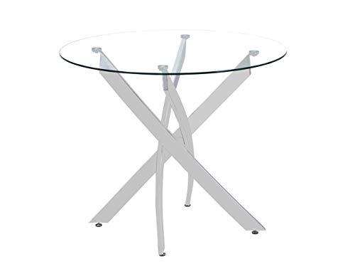 GOLDFAN Esstisch Glas Wohnzimmertisch Glastisch Moderner Stil Küchentisch Runder Tisch mit Verchromte Beine für Wohnzimmer Büro Küche Glas