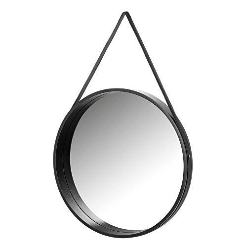 Espejo Colgante Negro de Madera MDF nórdico, de ø 50 cm - LOLAhome