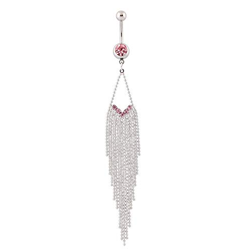 IrbingNii Long Belly Button Rings Dangle Belly Rings Surgical Steel Pink Tassels Belly Piercings for Women 14G