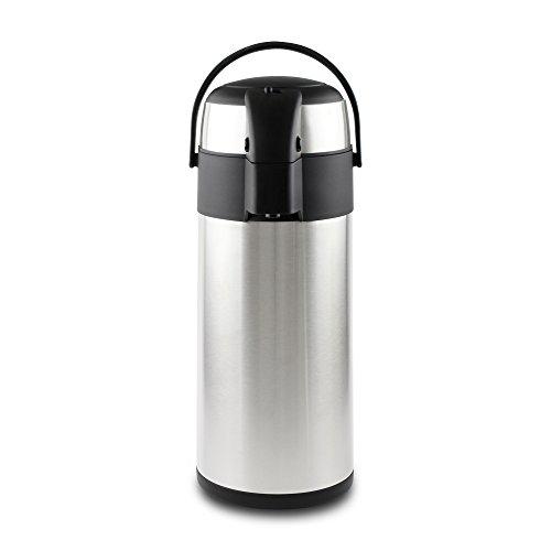 Pioneer Flasks SS40R Pioneer Airpot Isolier-Pumpkanne Edelstahl-Getränkespender Doppelwandig mit Griff, bis zu 8 Heiß und 12 Stunden Kühl Tee Kaffee Wasser Glühwein – 4 L, 18/10, Argent, 4 Litre