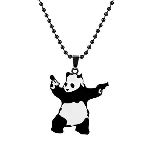 YUNMENG Lindo Panda con Pistolas, Collar con Colgante de Metal esmaltado, Cadena de Cuentas Banksy, Gargantilla, Collar, joyería para Hombres y Mujeres, Regalos