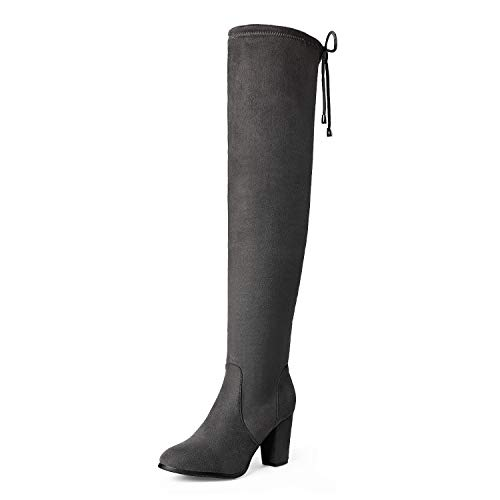 DREAM PAIRS Highleg Women's Thigh High Fashion Over The Knee Drawstring Strech Block Mid Heel Boots GREY-SZ-11