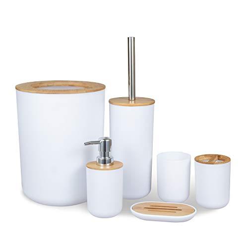 MisFox Juego de 6 Piezas Accesorios de Baño de Bambú con Dispensador de Jabón, Cubo de Basura,...