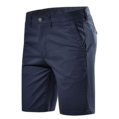 Les umes - Pantaloncini classici bermuda Chino, da uomo, elasticizzati, comodi, senza pinze, vestibilità aderente, A-blue marine, XL