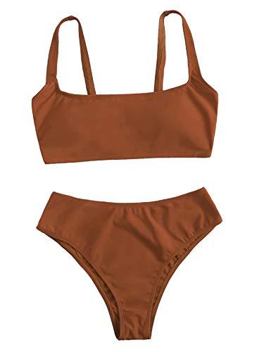 SweatyRocks Women's Swimwear Set Solid Scoop Neck High Waisted Bikini Swimsuits Brown Small