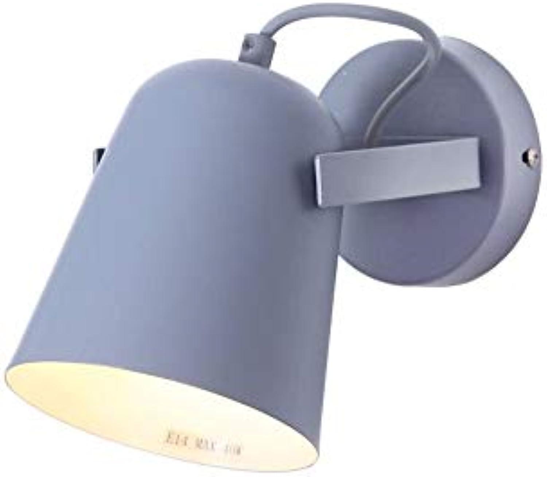 Moderne Single Head Wandlaterne Kreative Schmiedeeisen Wandleuchte Wandleuchten Einstellbar 180 Grad Einfache Schlafzimmer Nachttischlampe für Gang Studie Balkon Wandleuchte (Farbe  Blau)