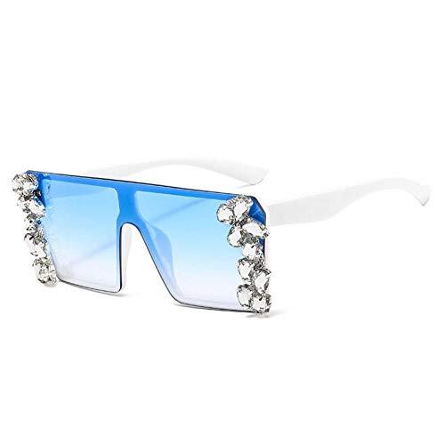 ZZOW Gafas De Sol De Lujo Cuadradas con Diamantes De Gran Tamaño para Mujer, Gafas con Gradiente De Diamantes De Imitación Retro De Una Pieza, Gafas De Sol para Hombre, Sombras Uv400