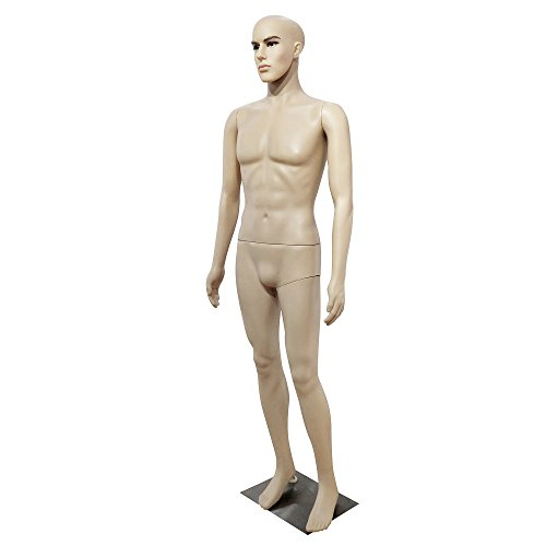 Zebery Male Mannequin Torso Dress Form Mannequin Body 72 Inches Adjustable Dress Model Male Full Body Mannequin Stand Realistic Display Mannequin Head Metal Base