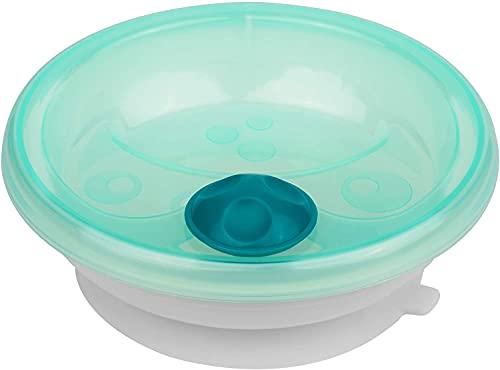 primamma Plato térmico para bebé, vajilla para mantener la comida caliente, plato para bebé con anillo de succión para soporte antideslizante, a partir de 6 meses, color verde
